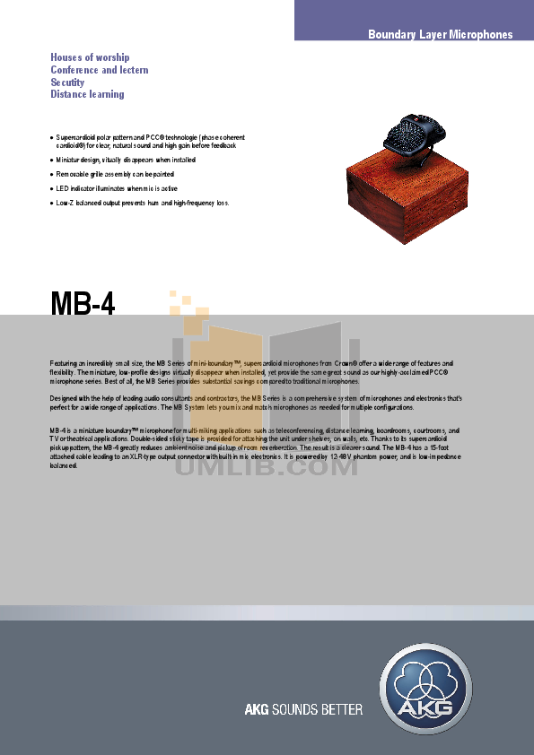 pdf for Crown Other MB-4 Microphones manual