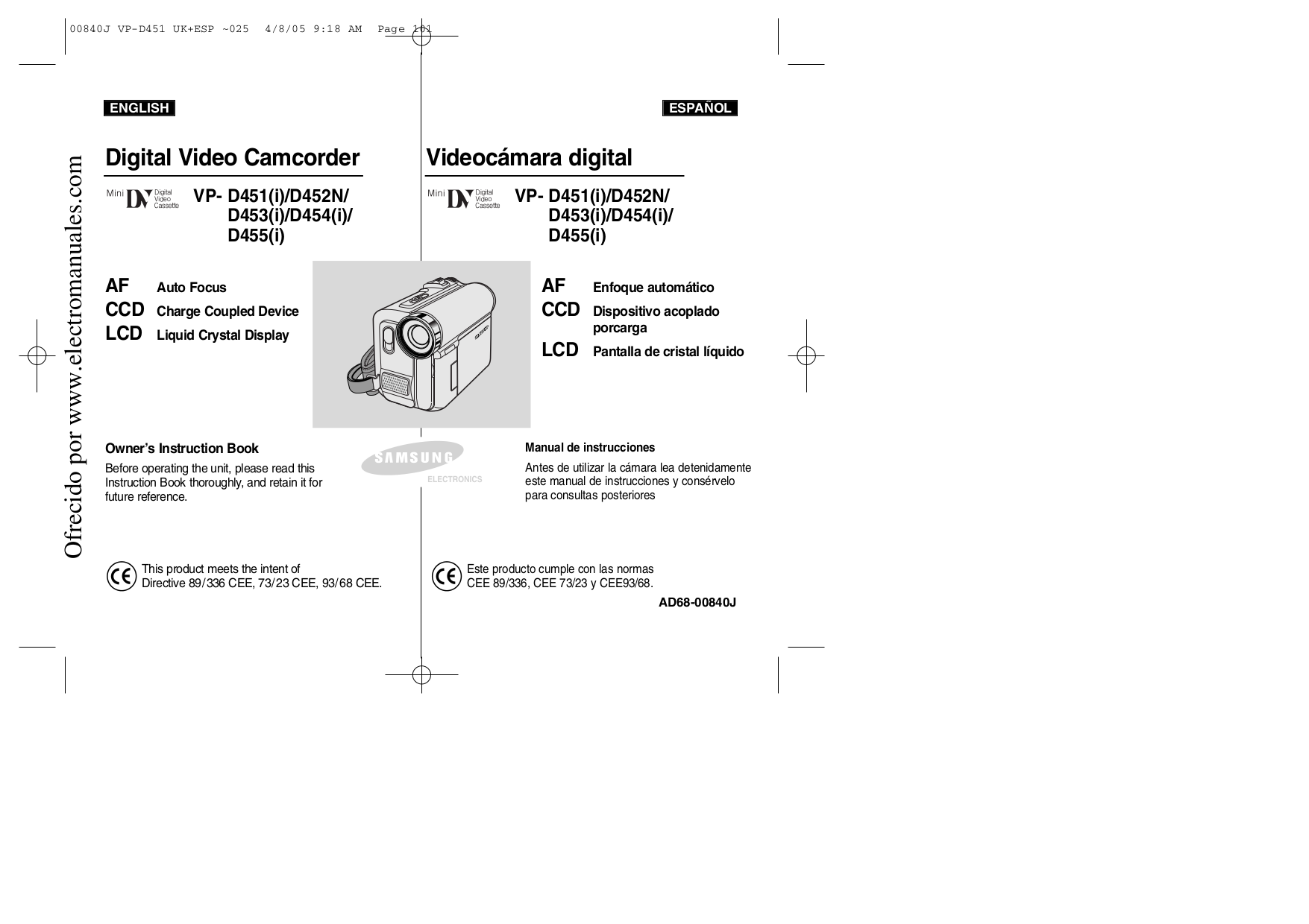 pdf for Samsung Camcorders VP-D455 manual