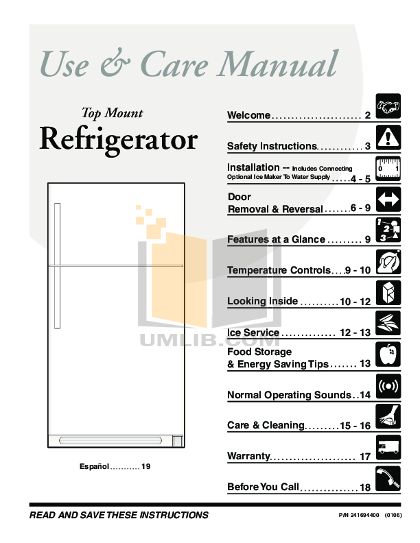 pdf for Frigidaire Refrigerator FRT18S6J manual