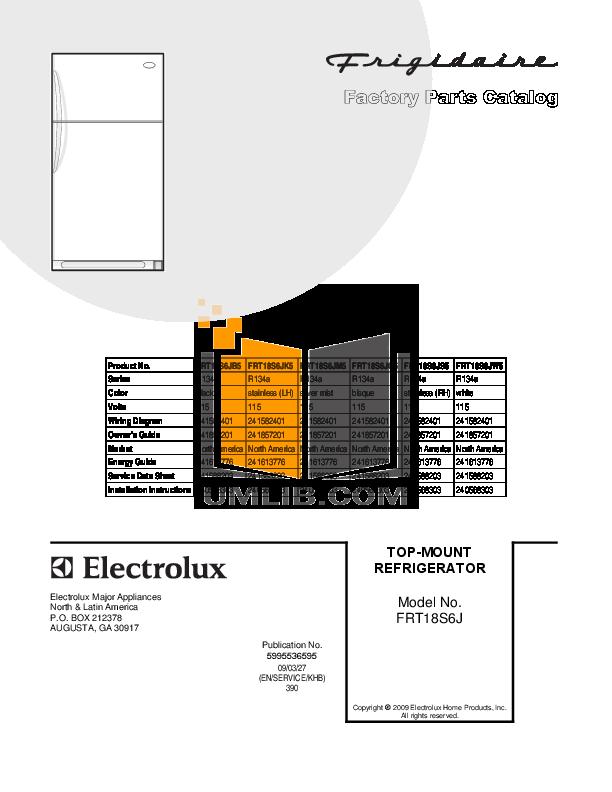 pdf for Frigidaire Refrigerator FRT18S6J manual