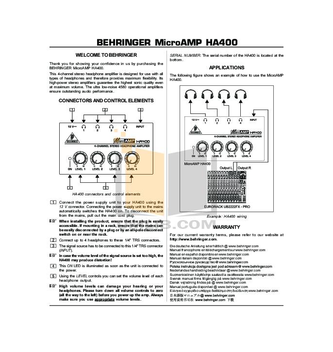 pdf for Behringer Amp HA400 manual