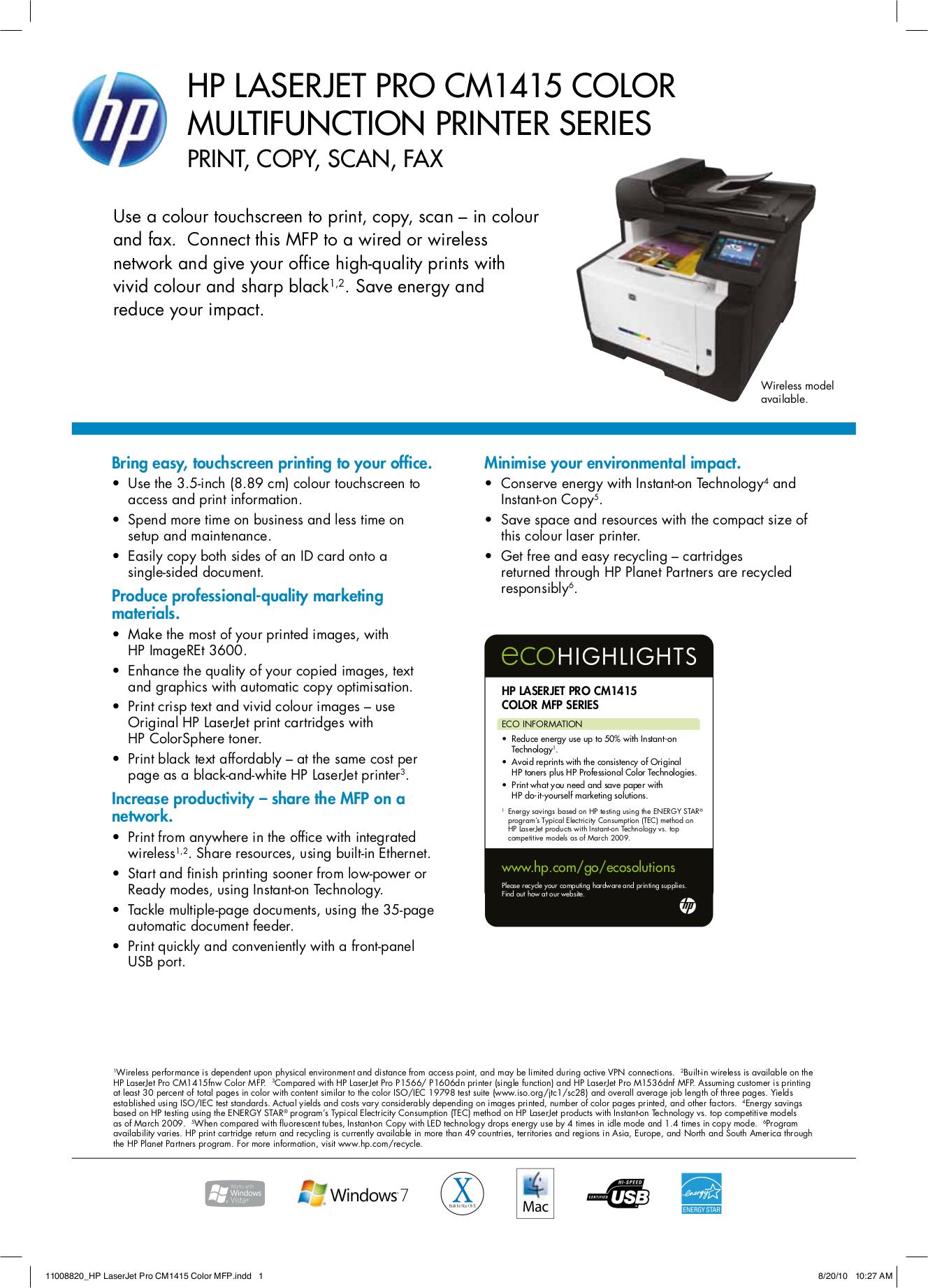 pdf for HP Multifunction Printer Laserjet,Color Laserjet Pro M1536dnf manual