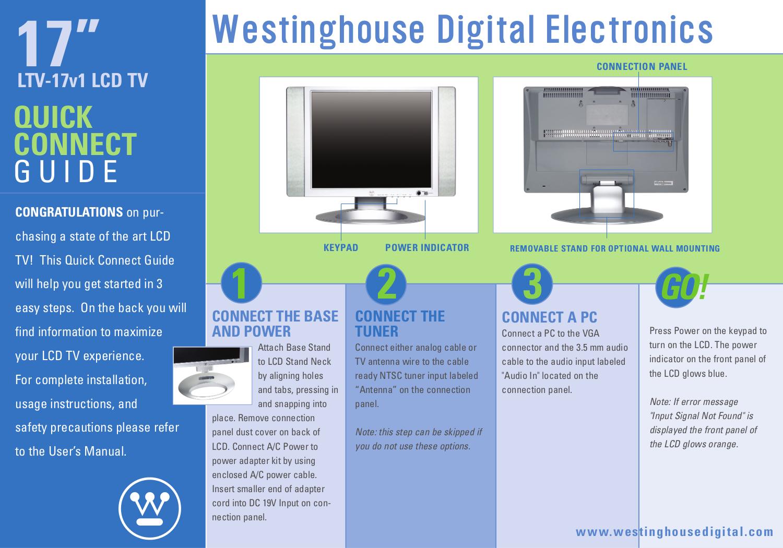 Download free pdf for Westinghouse LTV-17v1 TV manual