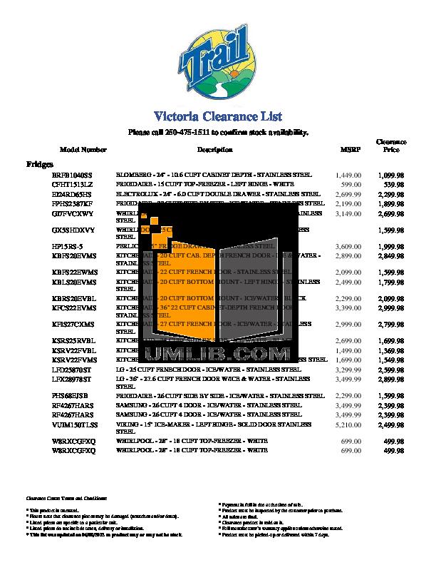 pdf for Frigidaire Refrigerator Professional PHS68EJSB manual