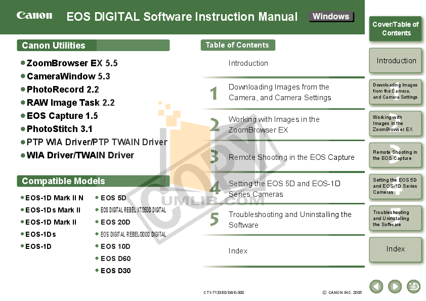 pdf for Canon Digital Camera EOS 1Ds manual