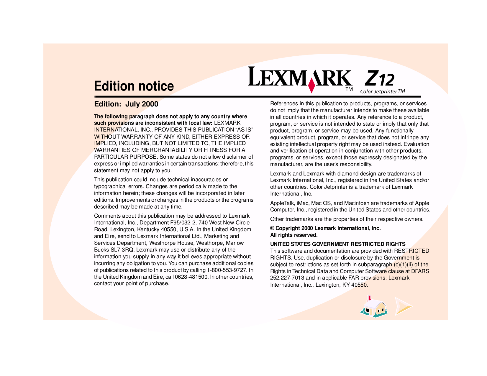 pdf for Lexmark Printer Z12 manual