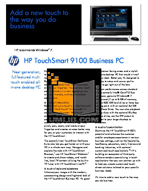 download free pdf for hp touchsmart 9100 desktop manual rh umlib com hp touchsmart 9100 user manual HP TouchSmart 9100 Business PC