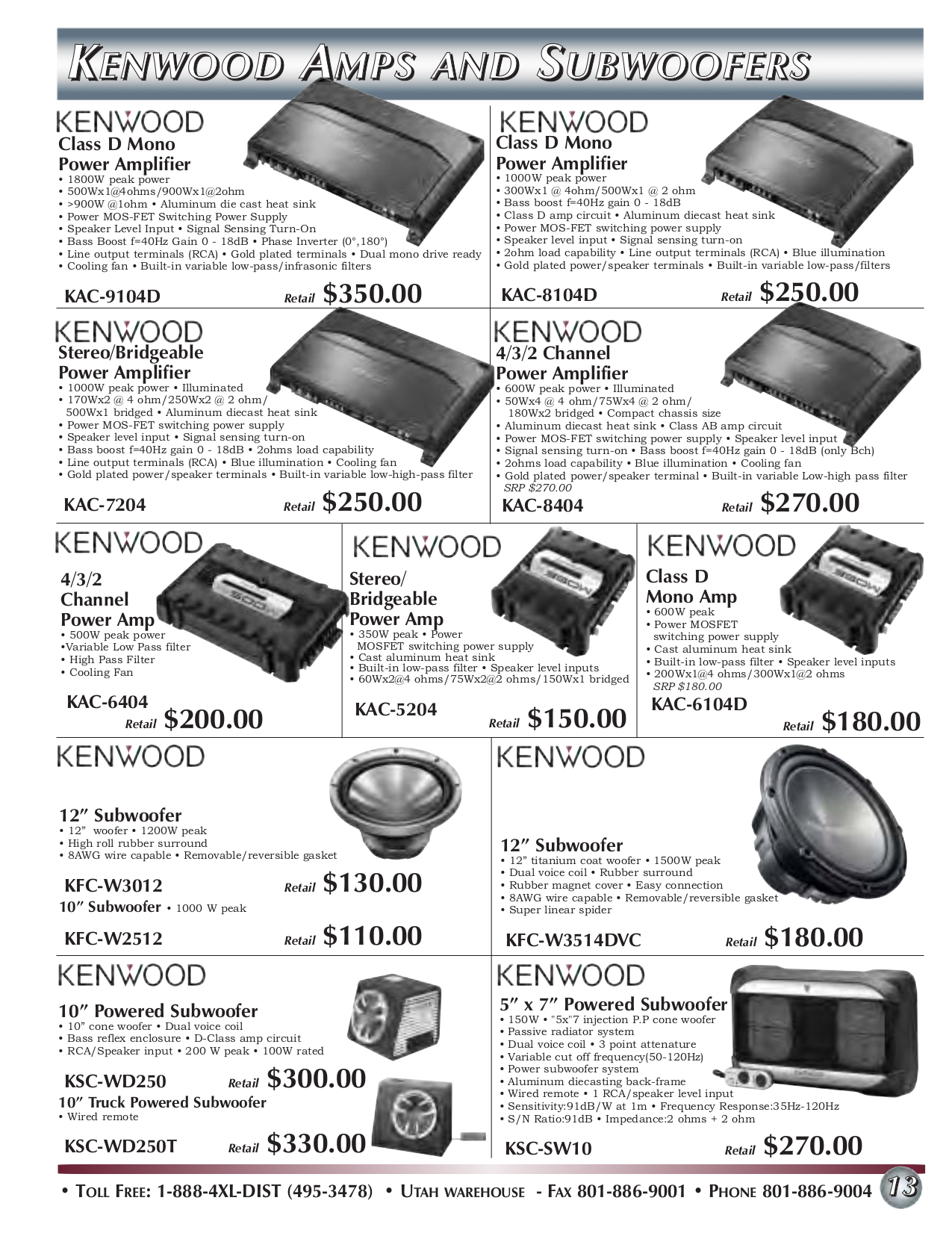 pdf for Kenwood Amp KAC-9020 manual