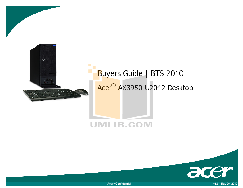 pdf for Acer Desktop Aspire X3950 manual