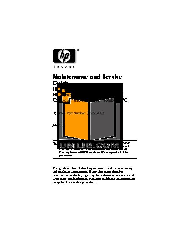 pdf for HP Laptop Pavilion DV1432 manual