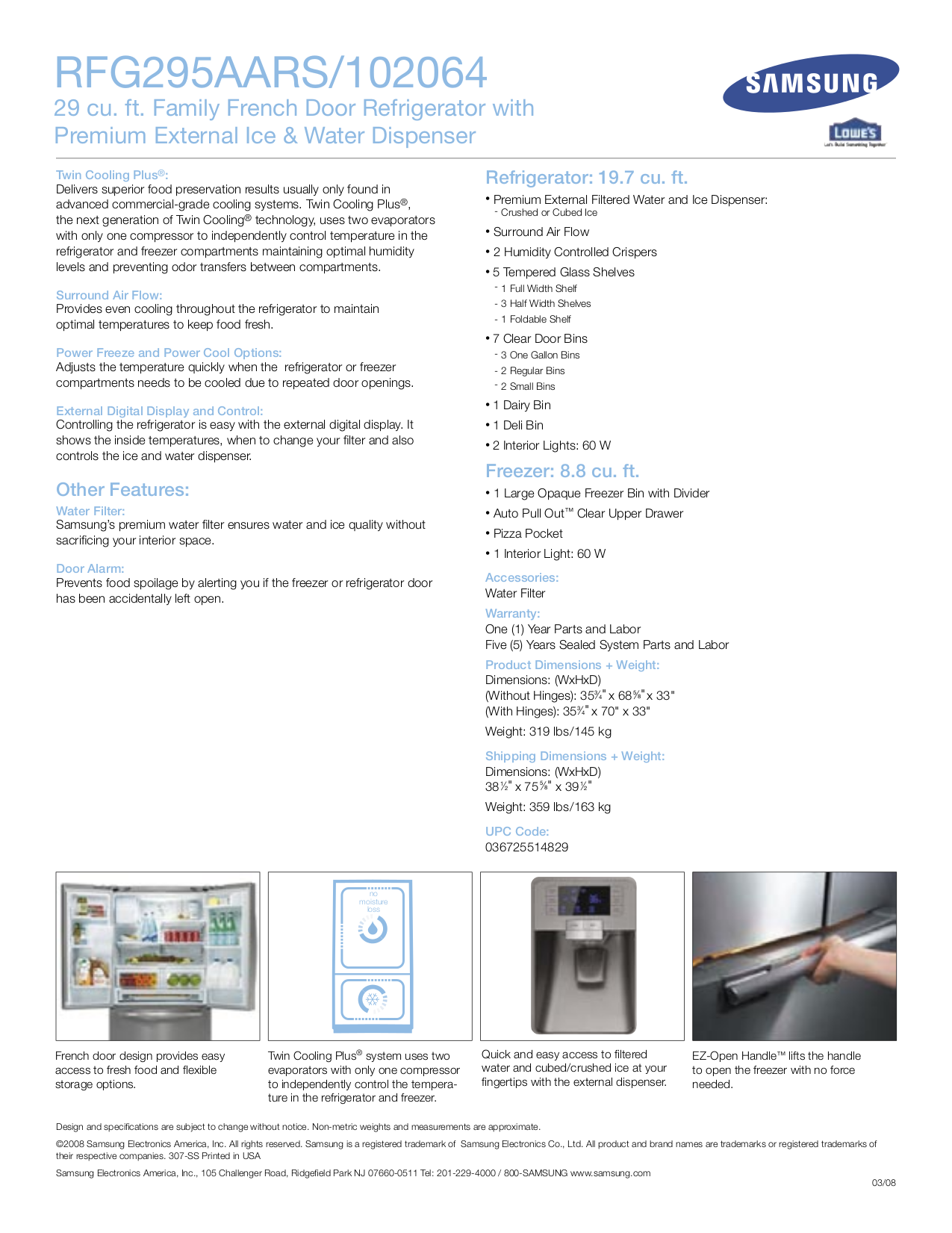 Samsung Refrigerator RFG295AARS pdf page preview