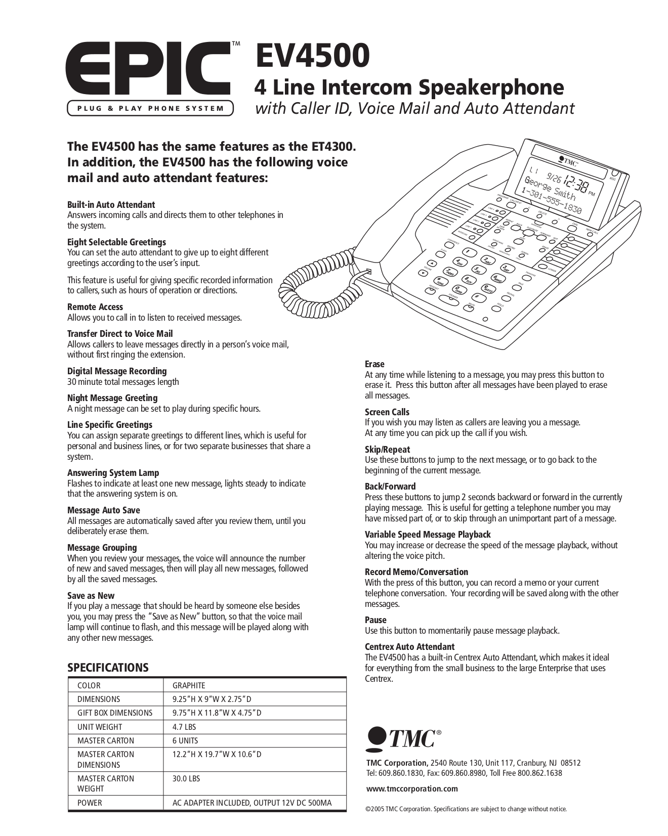 Download Free Pdf For Tmc Ev4500 Telephone Manual