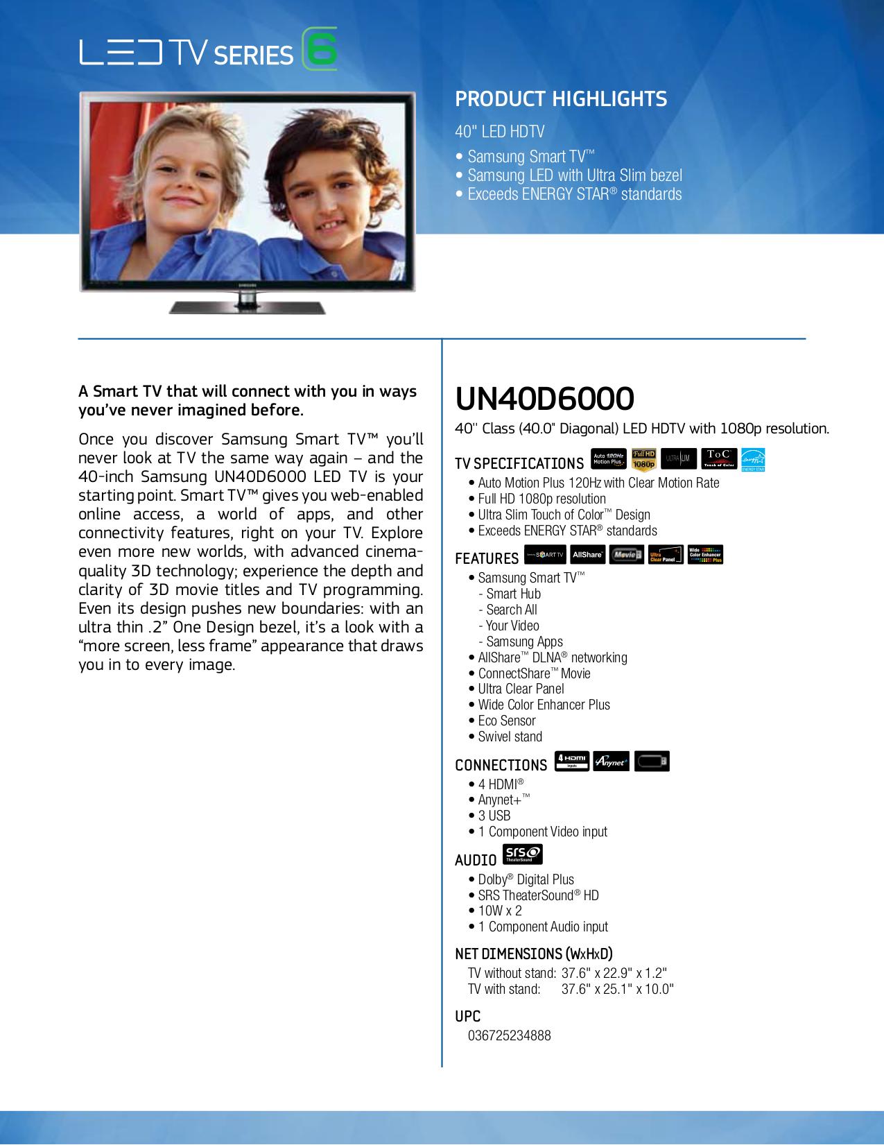 download free pdf for samsung un40d6000 lcd tv manual rh umlib com Samsung 40 Inch LED Samsung 40 1080P LED HDTV