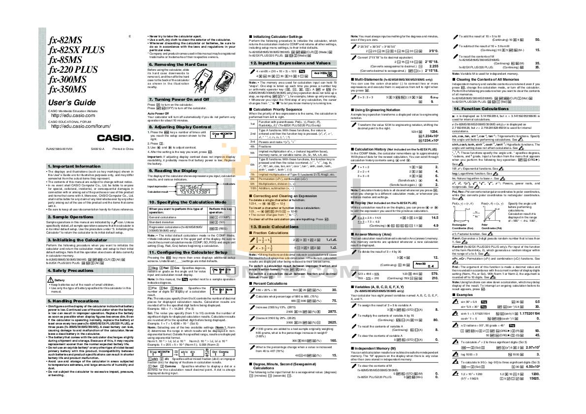 download free pdf for casio fx 350ms calculator manual rh umlib com Scientific Calculator Casio FX 250 Casio FX Scientific Calculator Yg Bisa Menggunakan Sigma