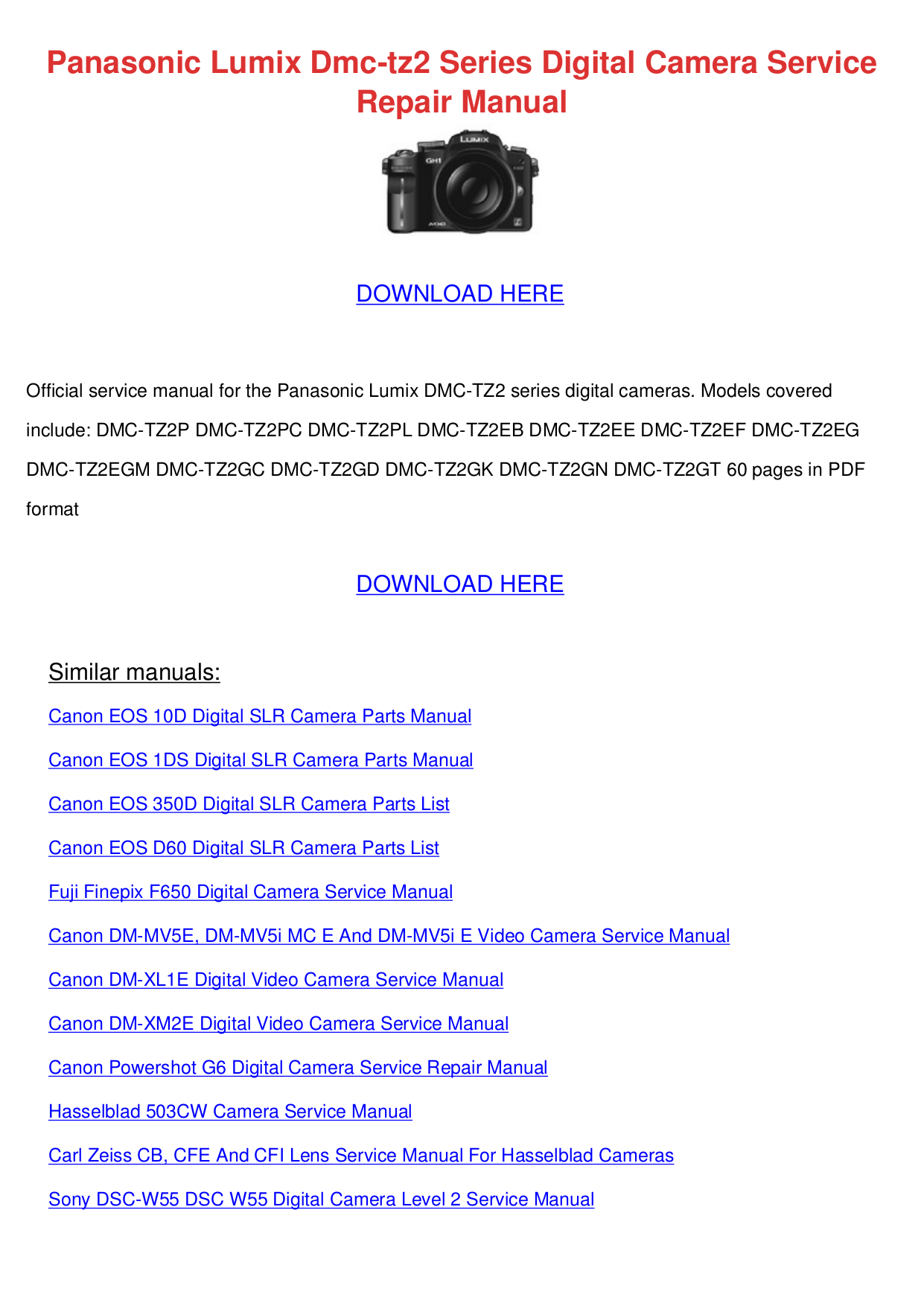 pdf for Panasonic Digital Camera Lumix DMC-TZ2 manual