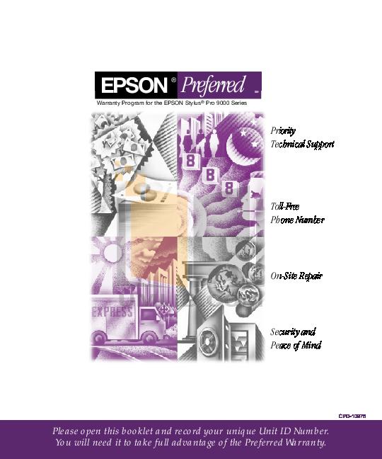 pdf for Epson Printer Stylus Pro 9500 manual