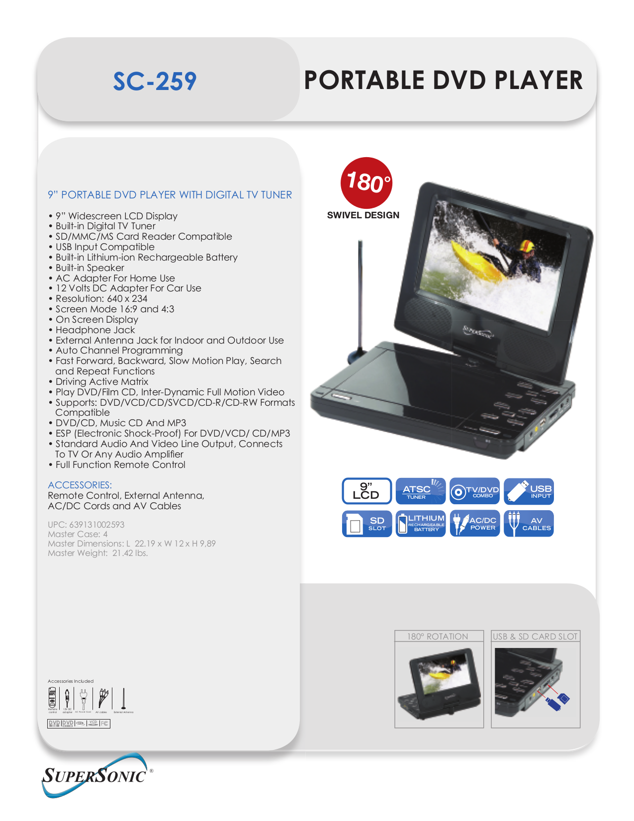 pdf for Supersonic Portable DVD Player SC-259 manual