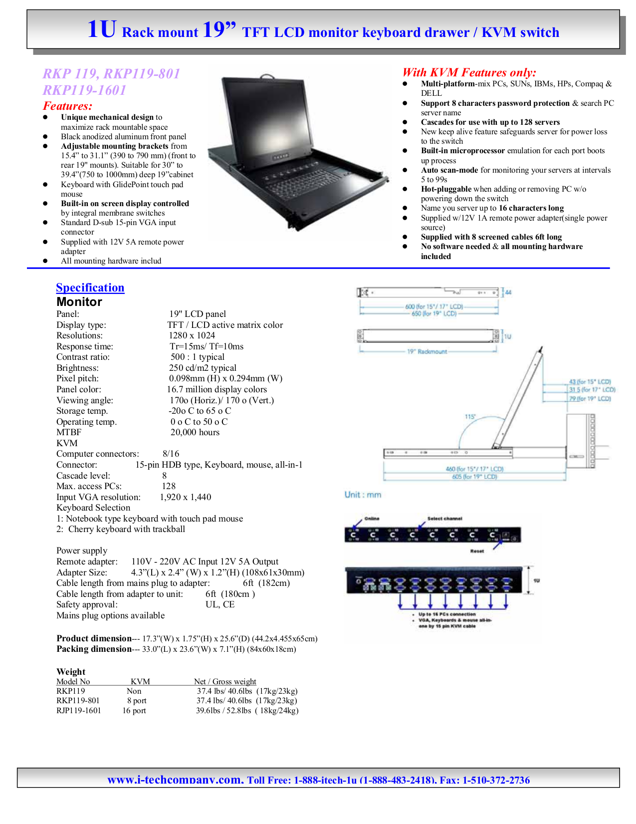 pdf for I-Tech Other RKP119-1601 Keyboard Drawers manual