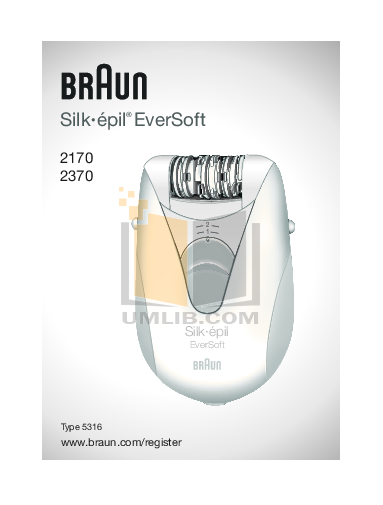 pdf for Braun Other Silk-epil EverSoft 2370 Epilators manual
