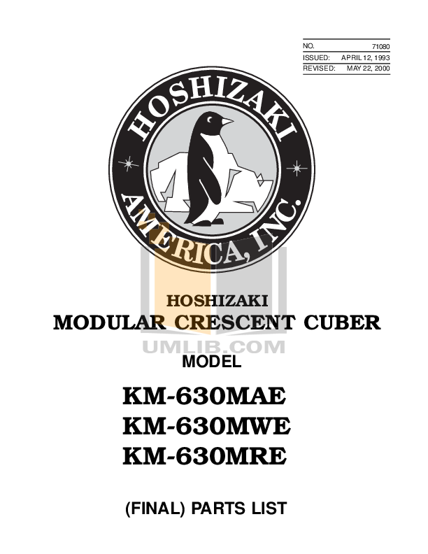 Hoshizaki Other KM-630MAB Cuber Machines pdf page preview