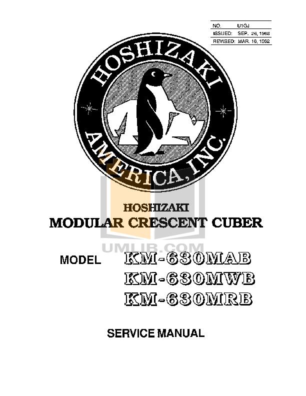 pdf for Hoshizaki Other KM-630MAB Cuber Machines manual