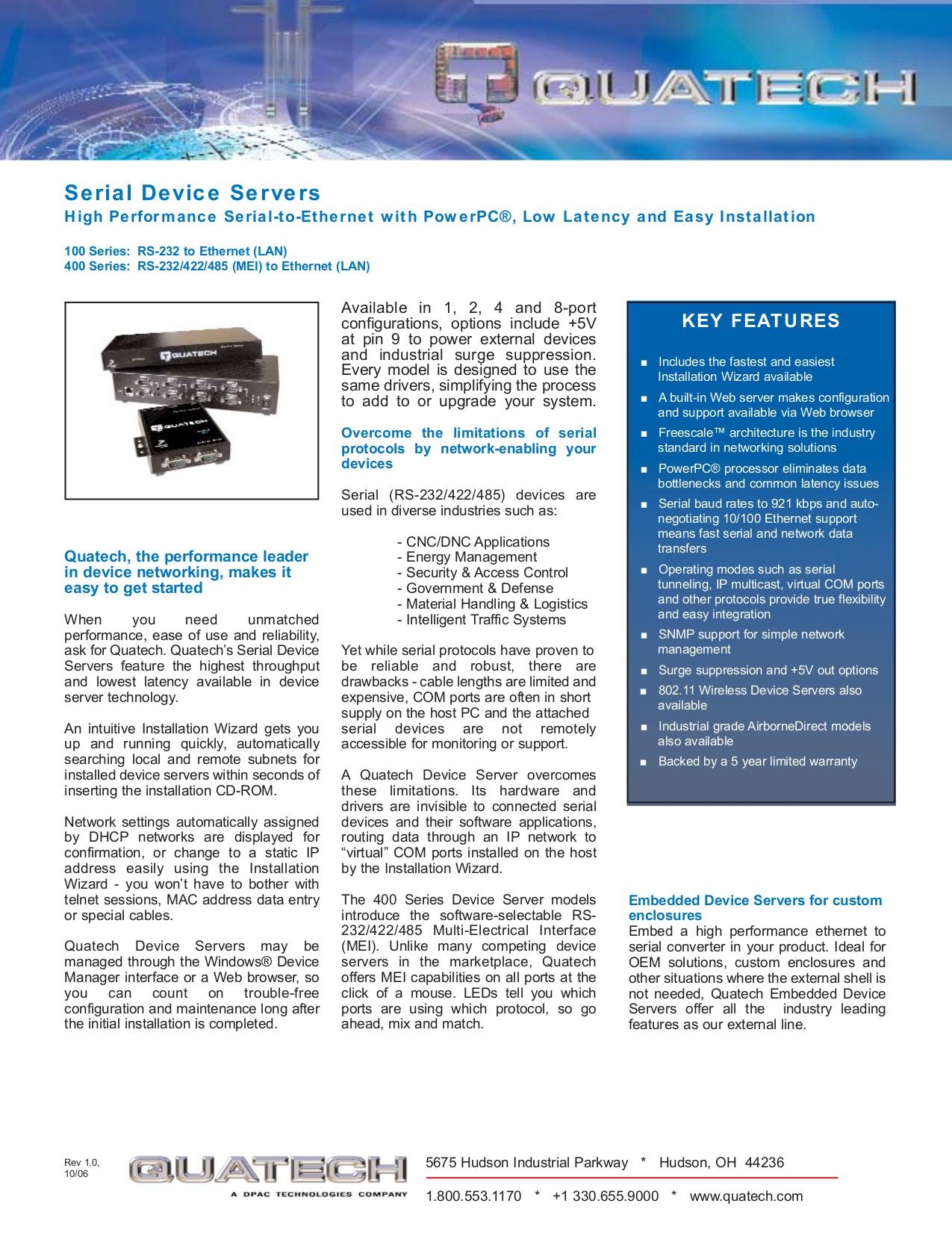 Quatech Other QSE-400M Servers pdf page preview