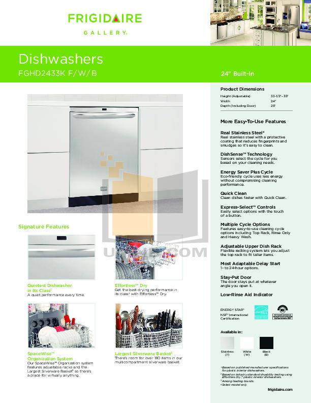 download free pdf for frigidaire fghd2433kf dishwasher manual rh umlib com Frigidaire Dishwasher Replacement Parts Frigidaire Gallery Dishwasher