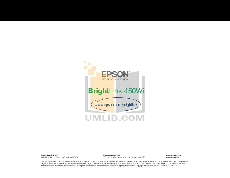 pdf for Epson Projector BrightLink 450Wi manual