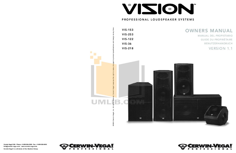 Cerwin-Vega Speaker System Vision VIS-36 pdf page preview ...