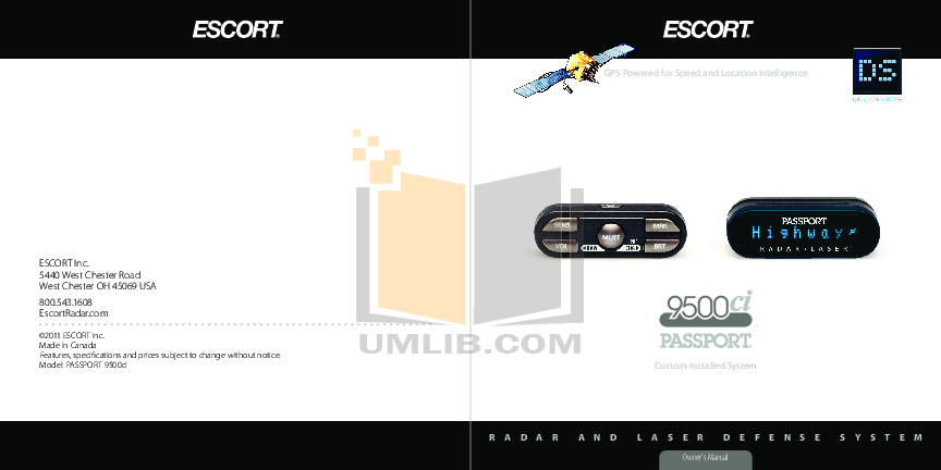 pdf for Escort Radar Detector Passport 9500I manual