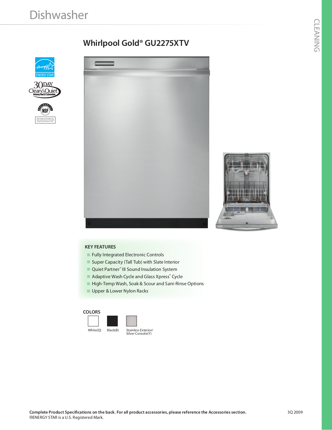 Download Free Pdf For Whirlpool Gold Gu2275xtv Dishwasher