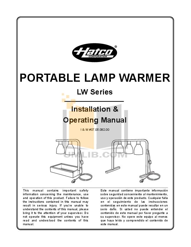 pdf for Hatco Other LW-3 manual