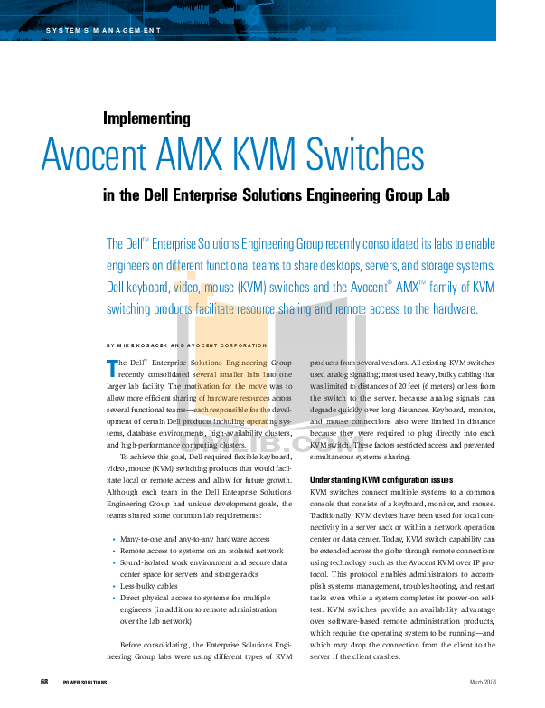 pdf for Avocent Switch AMX5010 manual