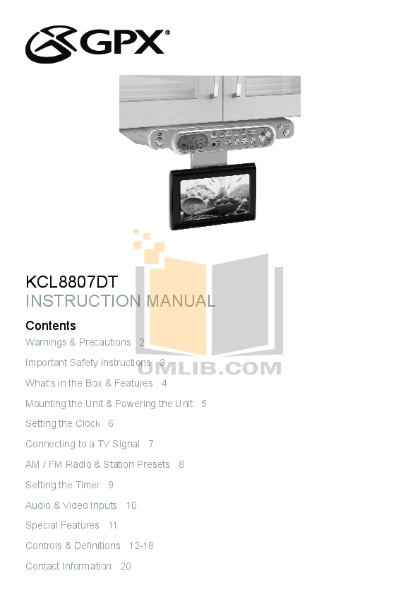 pdf for GPX TV KCL8807DT manual