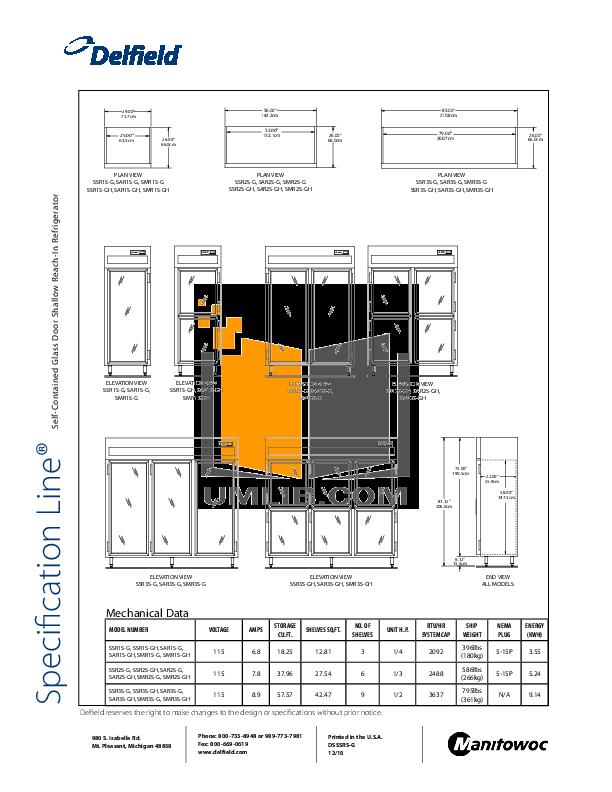 Delfield Refrigerator SAR1S-GH pdf page preview