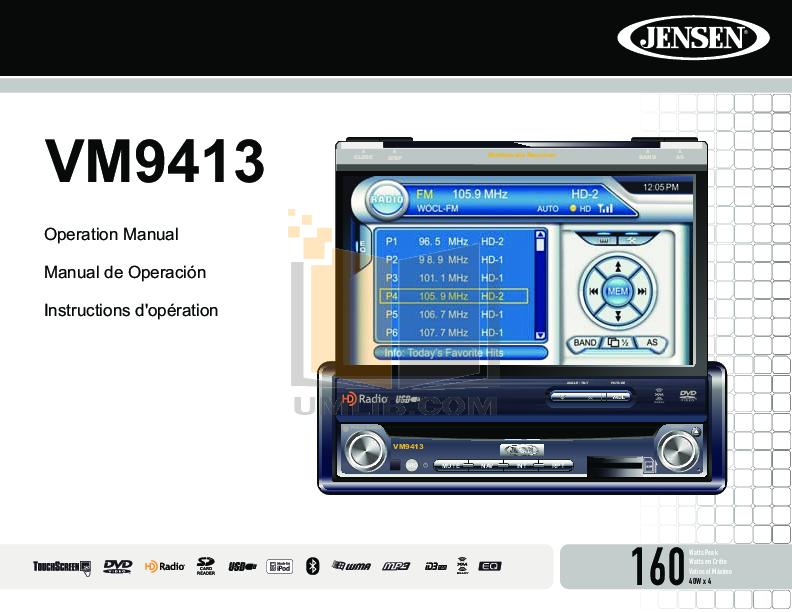 pdf for Audiovox Car Receiver VM9413 manual