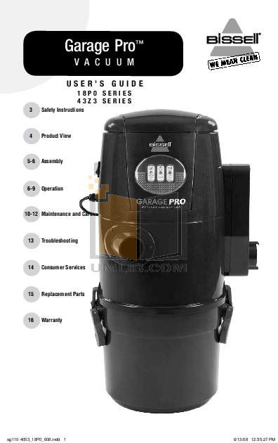 pdf for Bissell Vacuum 18P0 manual