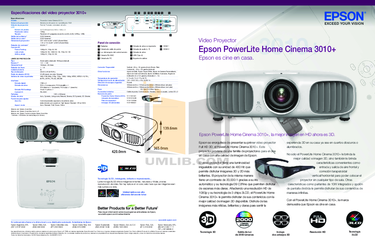 pdf for Epson Projector PowerLite 3010 manual