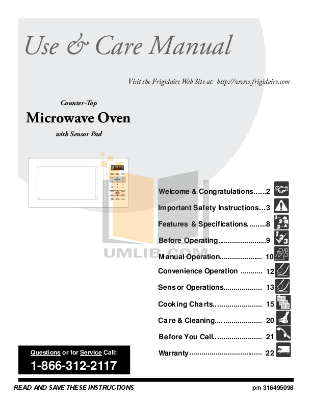 Pdf For Frigidaire Microwave Ffce2278ls Manual