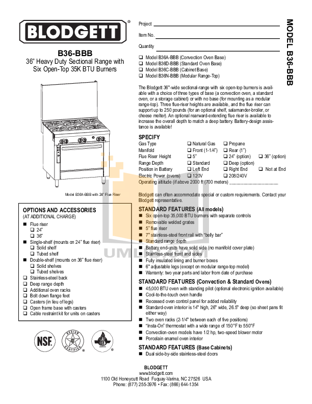 pdf for Blodgett Range B36C-BBB manual