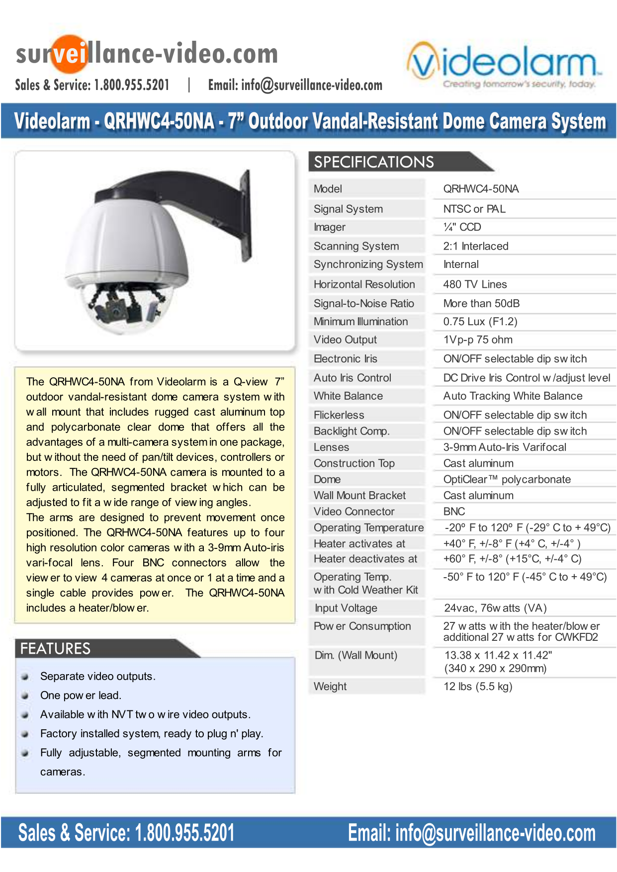 pdf for Videolarm Security Camera QView QRHWC4-50NA manual