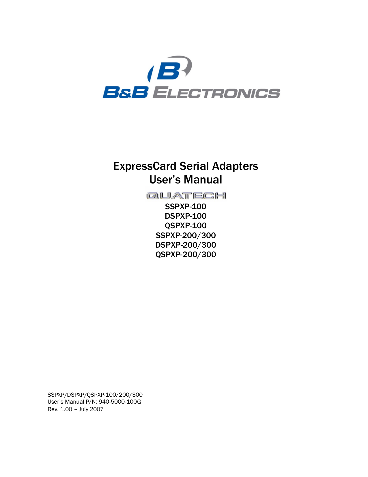 pdf for Quatech Other QSPXP-300 PCI Express Devices manual