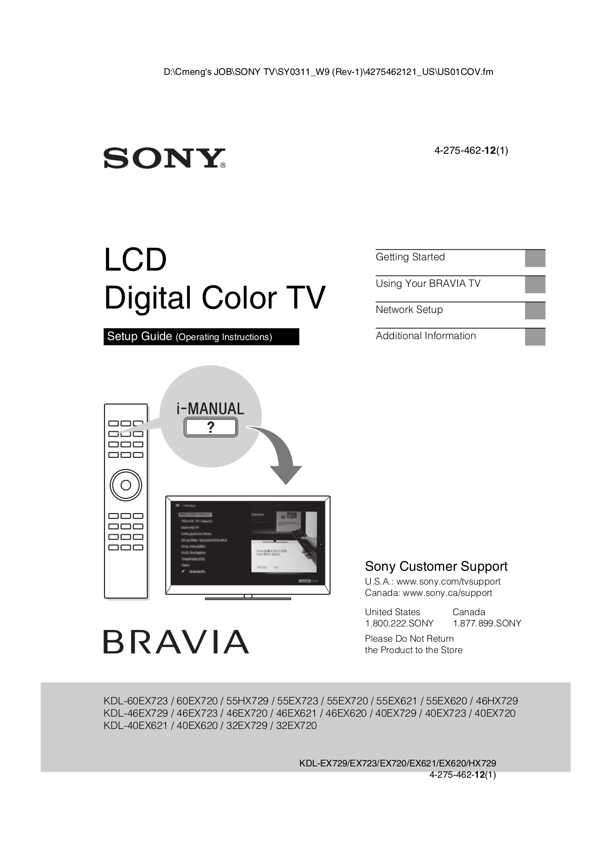 Download free pdf for Sony BRAVIA KDL-40EX720 TV manual
