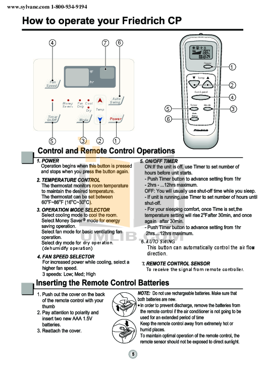 Pdf Manual For Friedrich Air Conditioner Cp06f10