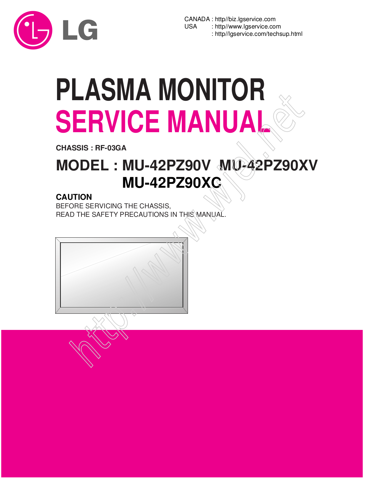 pdf for LG Monitor MU-42PZ90B manual
