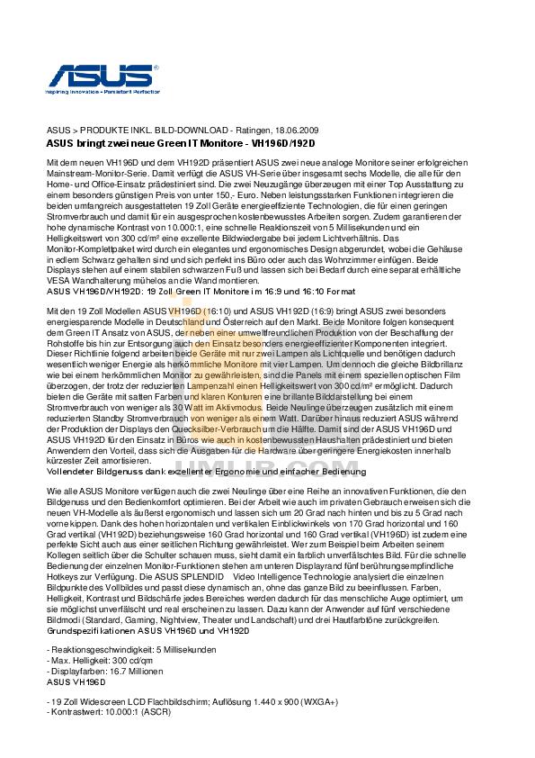 pdf for Asus Monitor VH192D manual