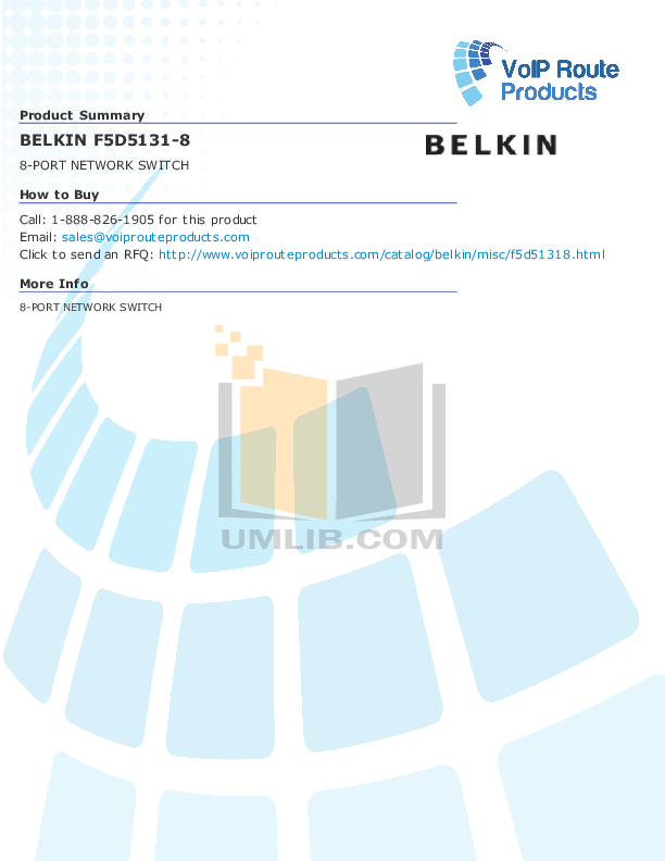 pdf for Belkin Switch F5D5131-8 manual