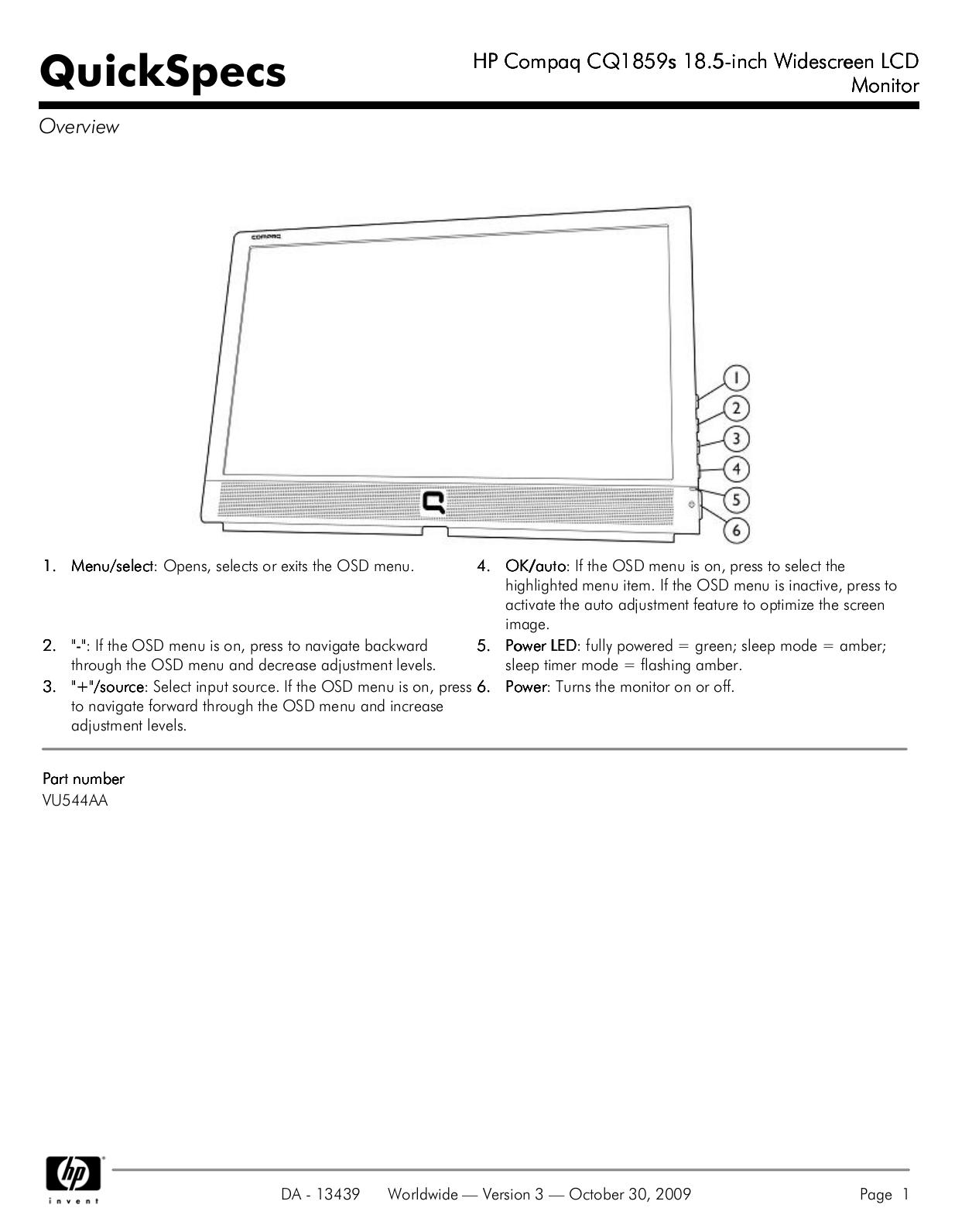 pdf for HP Monitor Compaq CQ1859s manual