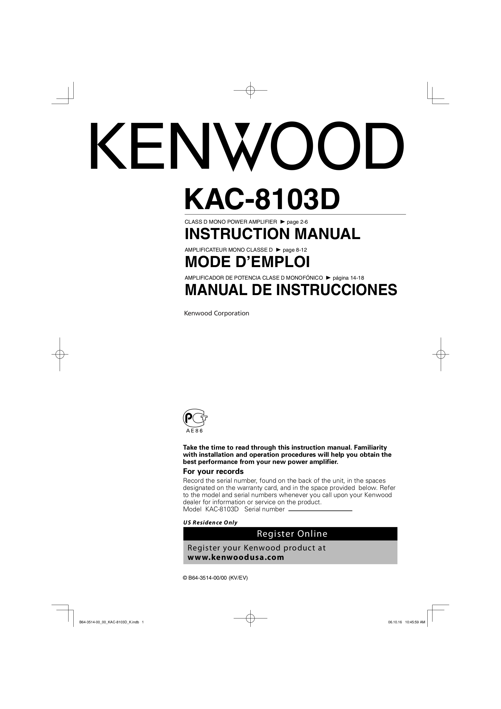 B64 3514 00.pdf 0 wiring diagram for kenwood kac 8103d wiring diagram and schematic kenwood kac-8103d wiring diagram at crackthecode.co