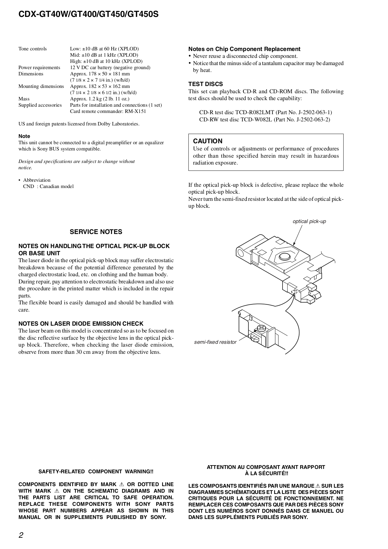 sony car receiver cdx-gt400 pdf page preview